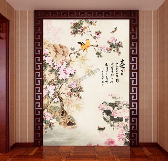 Fleurs cerisier wallpaper for Decoration murale wayfair