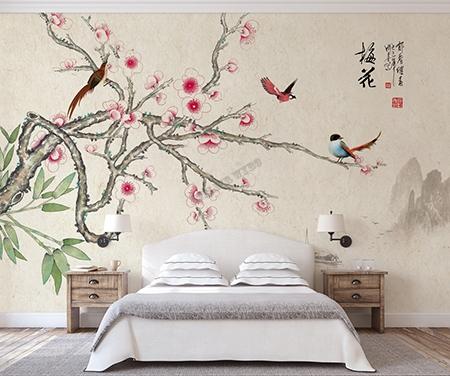 Decoration Murale Chambre D Hotel Papier Peint Intisse Japonais Fleurs Et Oiseaux Atelier Wybo