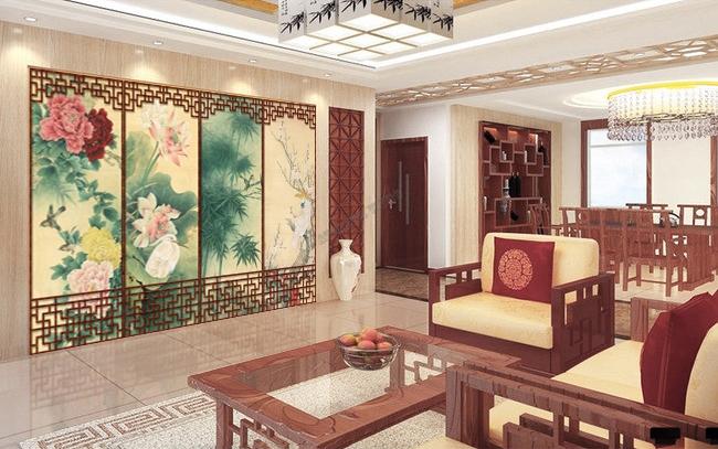 d coration d 39 int rieur style asiatique papier peint paravent chinois aux fleurs et aux oiseaux. Black Bedroom Furniture Sets. Home Design Ideas