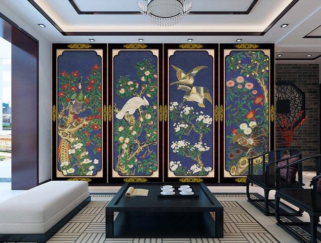 papier peint d 39 artiste tapisserie asiatique paravent bleu fonc aux fleurs et aux oiseaux. Black Bedroom Furniture Sets. Home Design Ideas