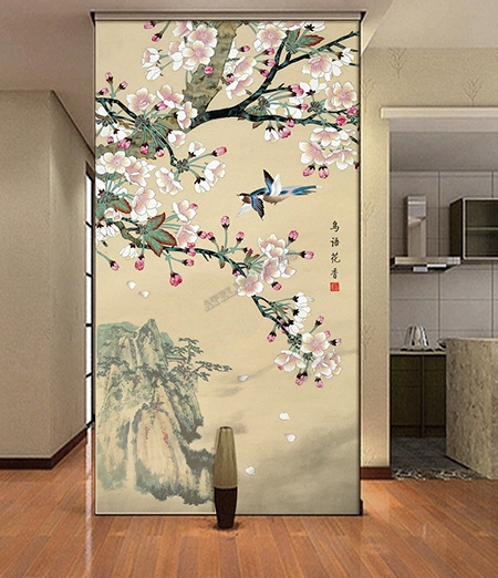 tapisserie asiatique fleurs et oiseaux papier peint d. Black Bedroom Furniture Sets. Home Design Ideas