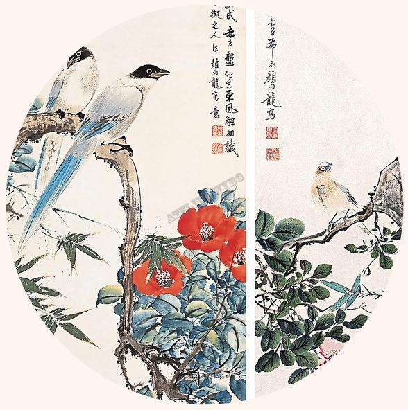 peinture asiatique papier peint d 39 artiste tapisserie murale d corative fleur et oiseau papier. Black Bedroom Furniture Sets. Home Design Ideas