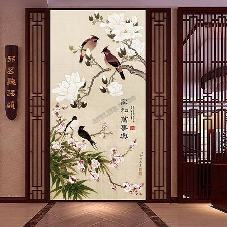 D coration murale asiatique fleur oiseau papier peint for Decoration asiatique