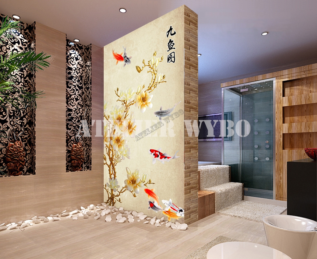 tapisserie num rique papier peint chinois personnalisable magnolias et poisson. Black Bedroom Furniture Sets. Home Design Ideas