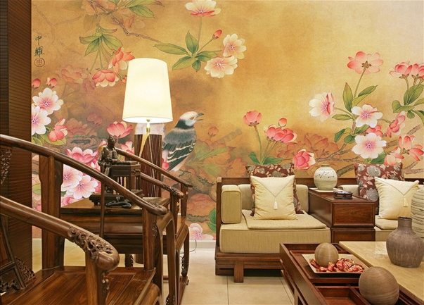 papier peint chinois lotus carpe oiseau avec po me. Black Bedroom Furniture Sets. Home Design Ideas