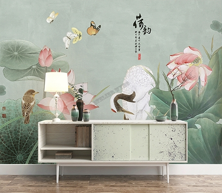papier peint chinois chinese wallpaper zen fleur oiseau. Black Bedroom Furniture Sets. Home Design Ideas
