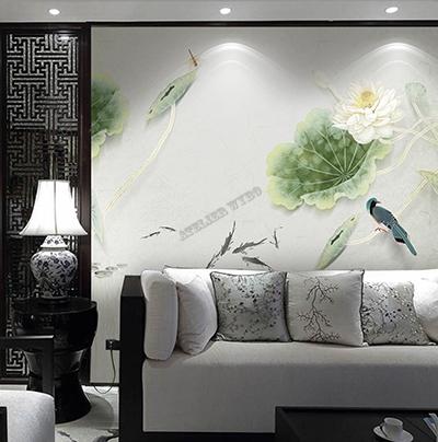 tapisserie chinoiserie zen lotus blanc,papier peint intissé japonais lotus blanc oiseau bleu,poster géant japonais zen lotus feuillage oiseau poisson,tête de lit chinoise fleur zen oiseau poisson,panneau japonais imprimé sur soie lotus oiseau poisson,sticker mural lotus blanc feuille oiseau libellule poisson