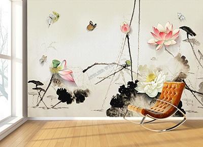 grande tapisserie japonaise séjour fleur zen,papier peint intissé lotus papillon effet bas relief,panneau chinoiserie zen fond beige lotus rose blanc,papier peint personnalisé xxl salon fleur zen,sticker mural xxl lotus papillon,poster géant japonais lotus chambre,tête de lit beige panoramique lotus zen