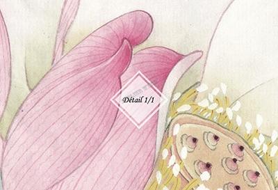 reproduction peinture à l'encre de chine lotus rose et oiseau sur papier peint intissé mat décor asiatique,tapisserie murale salon soie imprimée paysage gris fleur rose libellule et poisson,papier peint d'artiste fleur et oiseau paysage grisaille