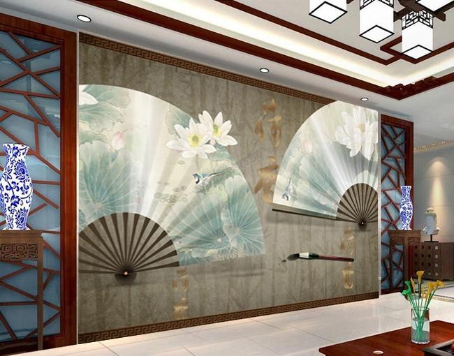 d coration murale zen effet 3d papier peint asiatique les lotus sur l 39 ventail avec les bambous. Black Bedroom Furniture Sets. Home Design Ideas