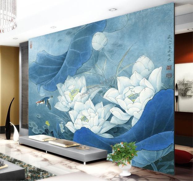 Papier peint vintage style asiatique sur mesure tapisserie for Papier peint motif chinois