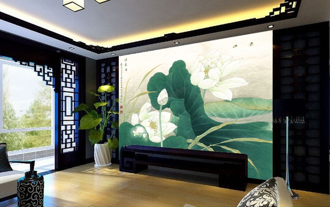 papier peint chinois sur mesure tapisserie florale les lotus blancs papier peint sol 3d. Black Bedroom Furniture Sets. Home Design Ideas