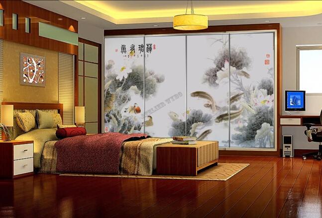 papier peint tapisserie asiatique style ancien paysage zen les lotus les carpes et les canards. Black Bedroom Furniture Sets. Home Design Ideas