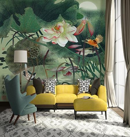 papier peint personnalis tapisserie asiatique les lotus les oiseaux les poissons et les canards. Black Bedroom Furniture Sets. Home Design Ideas