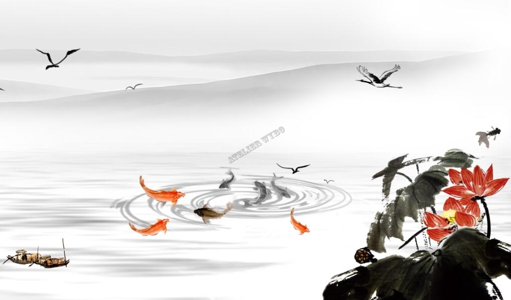 papier peint chinois tapisserie panoramique xxl paysage asiatique les lotus et les poissons. Black Bedroom Furniture Sets. Home Design Ideas