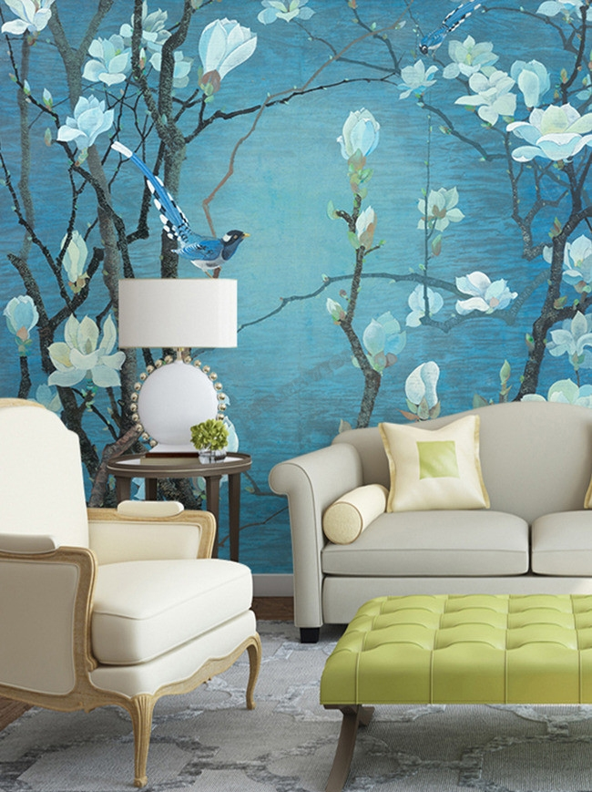 chinese wallpaper papier peint chinois zen personnalisable les magnolias et les oiseaux. Black Bedroom Furniture Sets. Home Design Ideas