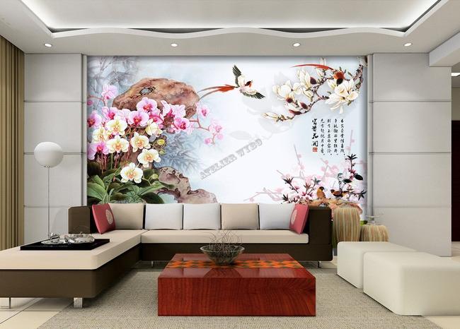 Orchidéeoiseaumagnoliafleur de pecherpapier peint floraltapisserie florale