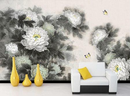 Decoration Murale Panoramique Noir Et Blanc Papier Peint Chinois Zen
