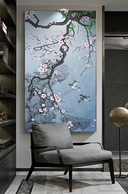 papier peint chinois fleurs et oiseaux,papier peint japonais cerisier oiseau,papier peint bleu fleur oiseau,tapisserie asiatique verticale cerisier oiseau fond bleu,paravent japonais cerisier oiseau