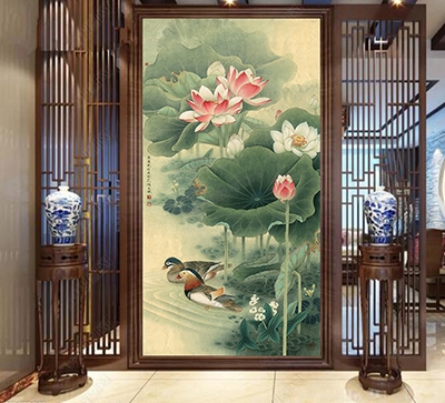 paravent chinois lotus canard mandarin,cloison mobile zen canard mandarin lotus rose,papier peint intissé chinoiserie séjour lotus canard,tapisserie soie imprimée lotus canard feuille,panneau japonais imprimé zen canard lotus