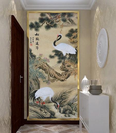 peinture l 39 encre de chine ancienne d coration murale zen papier peint en soie l unique les. Black Bedroom Furniture Sets. Home Design Ideas
