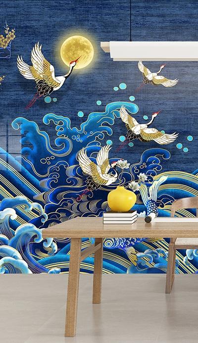 papier peint japonais traditionnel grue carpe,papier peint chinois intissé bleu doré,papier peint vintage japonais bleu,papier peint chinoiserie grue chic doré,tapisserie murale bleue grue japonaise carpe,sticker japonais bleu vague cerisier grue,tête de lit bleue dorée vague poisson japonais,panneau japonais bleur doré grue poisson cerisier,poster japonais séjour bleur doré grue carpe cerisier,grand affiche japonais bleu doré grue cerisier