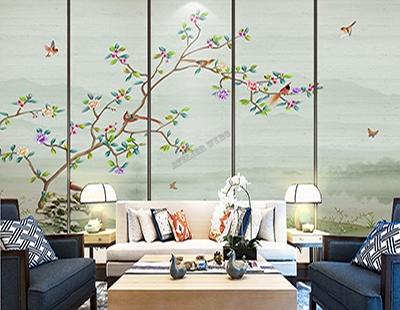 papier peint japonais fleurs et oiseaux ton vert,papier peint chinois paysage zen fleur oiseau,papier peint intissé paysage asiatique fleur oiseau,tapisserie zen soie imprimée fleur et oiseau,tête de lit tissu imprimé paysage japonais fleur oiseau,poster géant intissé paysage chinois fleur oiseau