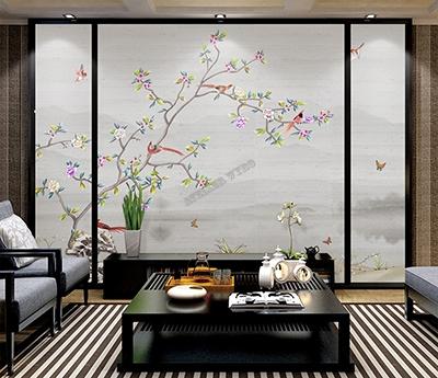 papier peint chinoiserie fleurs et oiseaux,tapisserie japonaise zen paysage gris fleur oiseau,papier peint intissé asiatique gris fleurs et oiseaux,poster géant chinois fleur oiseau papillon,tête de lit paysage asaitique gris fleur oiseau papillon,panneau japonais imprimé fleur oiseau paysage gris