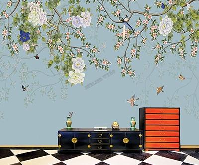 papier peint,papier peint personnalisé,papier peint asiatique fleur oiseau fond bleu,poster intissé zen séjour bleu pastel,tapisserie chinoiserie pivoine fleur oiseau papillon,panneau japonais pivoine oiseau papillon,sticker tête de lit bleu pastel fleur oiseau papillon