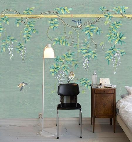 tapisserie asiatique florale fond vert pastel papier peint chinoiserie oiseau et glycine