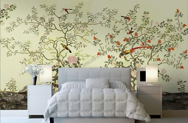 papier peint d 39 artiste asiatique tapisserie num rique zen les fleurs et les oiseaux sur fond. Black Bedroom Furniture Sets. Home Design Ideas