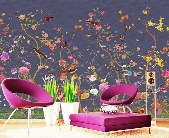 papier peint floral personnalis tapisserie num rique zen. Black Bedroom Furniture Sets. Home Design Ideas