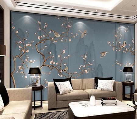 papier peint japonais fleurs et oiseaux tapisserie murale zen fond bleu gris. Black Bedroom Furniture Sets. Home Design Ideas