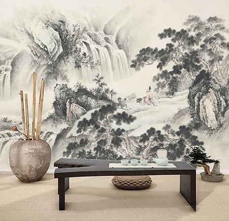peinture asiatique en noir et blanc paysage zen grande. Black Bedroom Furniture Sets. Home Design Ideas