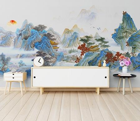 papier peint,papier peint japonais,papier peint chinois,papier peint montagne,papier peint zen,tapisserie paysage zen,peinture asiatique montagne et eau,peinture japonaise montagne,poster géant montagne,sticker séjour montagne,décor zen japonais,décor zen chinois,papier peint bleu,papier peint panoramique