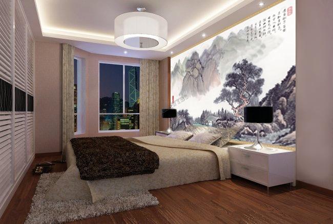 papier peint chinois papier peint japonais bambou bamboo oiseau pome with poster mural montagne. Black Bedroom Furniture Sets. Home Design Ideas