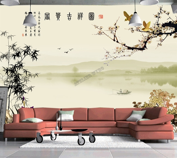 papier peint chinois tapisserie panoramique paysage avec. Black Bedroom Furniture Sets. Home Design Ideas