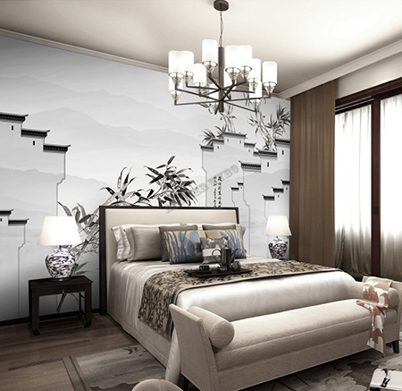 peinture asiatique en noir et blanc papier peint intiss japonais maison traditionnelle avec les. Black Bedroom Furniture Sets. Home Design Ideas