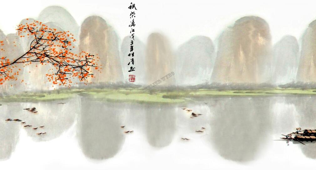 Papier Peint Chinois Sur Mesure Tapisserie Numérique Paysage D'Automne