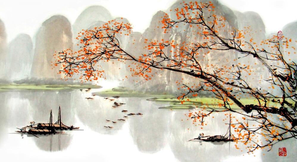 tableau peinture paysage asiatique