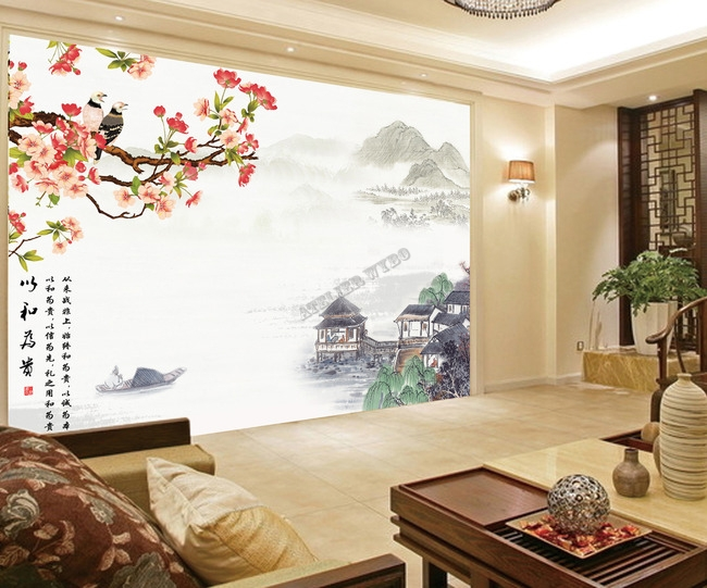 papier peint asiatique sur mesure style chinois paysage fleurs de cerisier oiseaux po me. Black Bedroom Furniture Sets. Home Design Ideas
