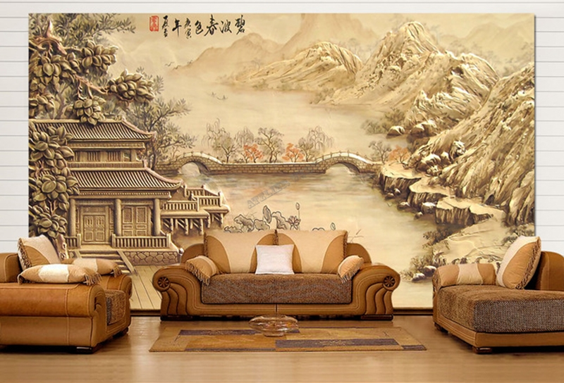 papier peint asiatique sur mesure style chinois maison au bord de la rivi re. Black Bedroom Furniture Sets. Home Design Ideas