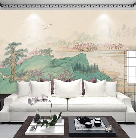 t te de lit brocart de soie style japonais tapisserie murale xxl zen paysage de printemps. Black Bedroom Furniture Sets. Home Design Ideas