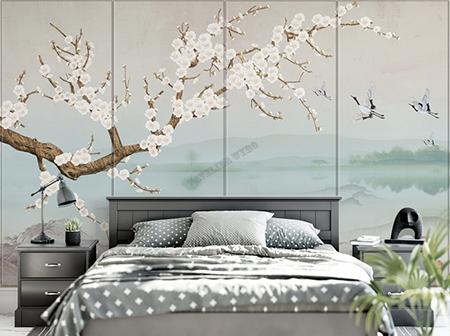 papier peint intiss japonais tapisserie murale zen paysage avec les fleurs de mei les grue du. Black Bedroom Furniture Sets. Home Design Ideas