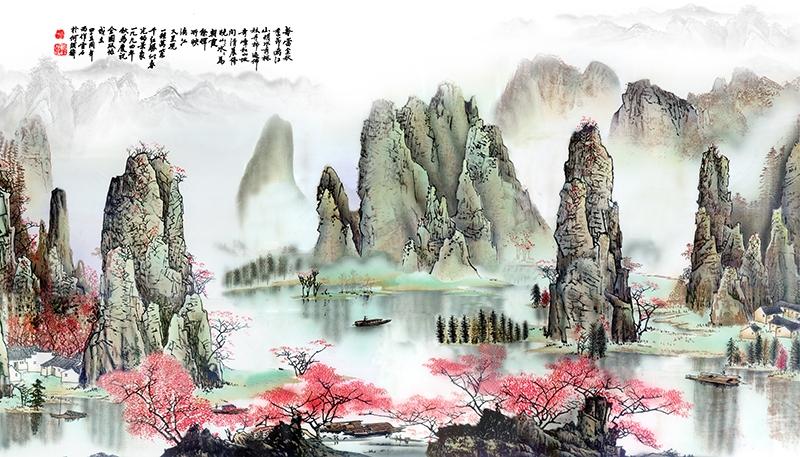 papier peint chinois, papier peint asiatique, papier peint paysage, tapisserie asiatique, tapisserie paysage