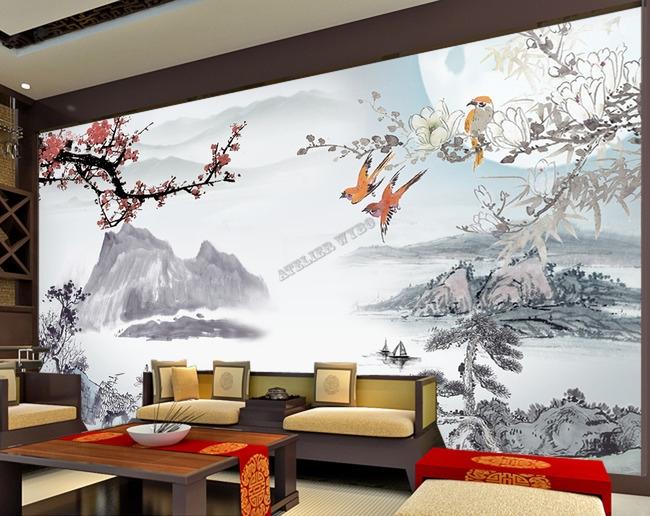 papier peint tapisserie asiatique paysage avec les fleurs et les oiseaux. Black Bedroom Furniture Sets. Home Design Ideas