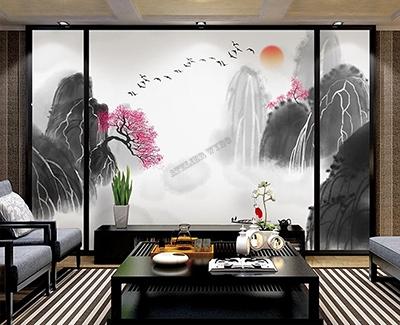 papier peint japonais montagne noir gris blanc arbre rose,papier peint vinyle intissé japonais montagne lever du soleil,papier peint d'artiste japonais montagne fleur de pêcher,tapisserie japonaise soie imprimée montagne en noir girs blanc fleur rose,panneau japonais imprimé paysage zen montagne fleur rose,poster intissé japonais montagne en noir girs blanc,tête de lit chinoise montagne grise fleur rose lever du soleil