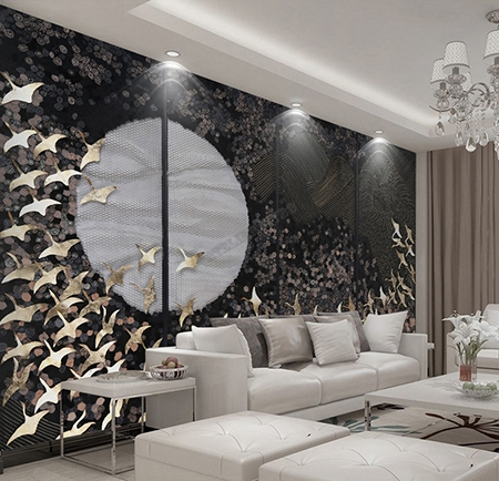 d coration interieur chambre d 39 h tel papier peint paravent japonais oiseau dor fleur sur fond noir. Black Bedroom Furniture Sets. Home Design Ideas