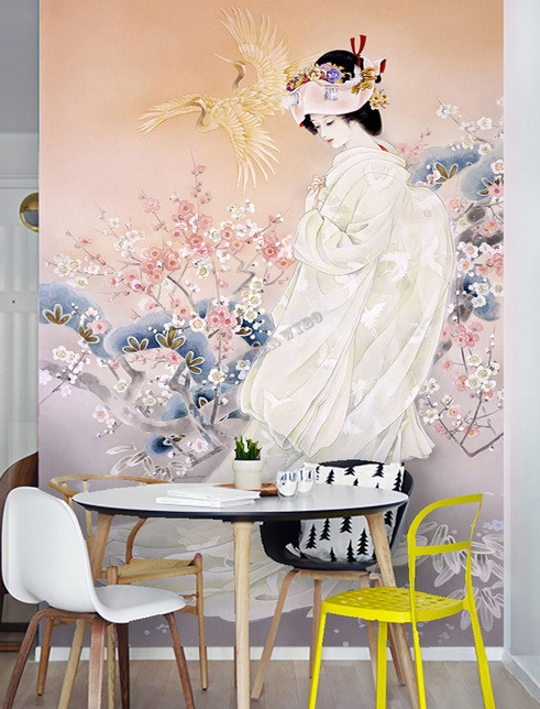 papier peint asiatique personnalis style japonais portrait jeune mari e en kimono blanc. Black Bedroom Furniture Sets. Home Design Ideas