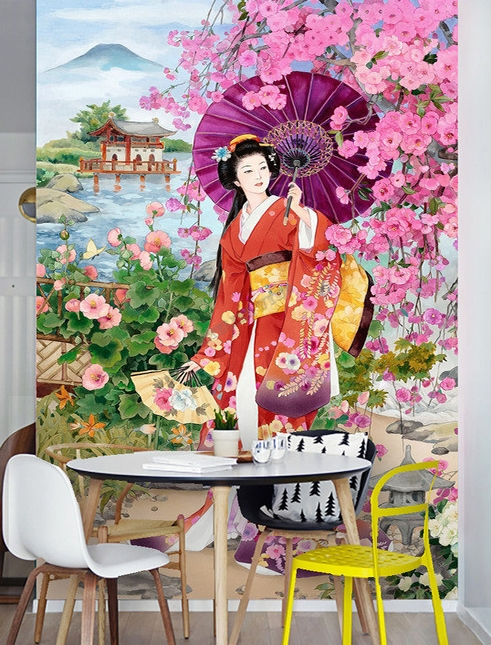 papier peint asiatique personnalis style japonais portrait promenade dans le jardin en. Black Bedroom Furniture Sets. Home Design Ideas